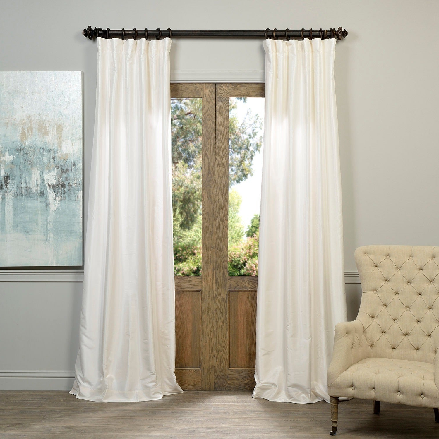 Exclusive Fabrics Off White Vintage Faux Textured Dupioni Silk Curtain (Gallery 2 of 20)