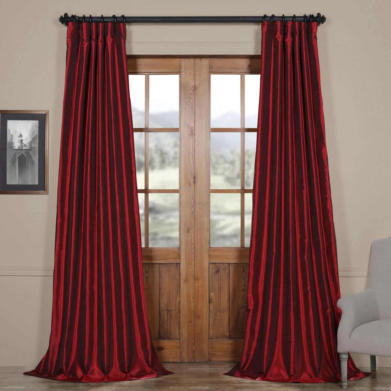 Exclusive Fabrics Ruby Vintage Faux Textured Dupioni Silk 50 Inch Curtain Panel With Trendy Vintage Faux Textured Dupioni Silk Curtain Panels (View 3 of 20)