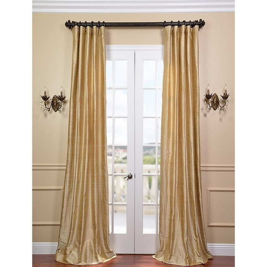 Exclusive Fabrics Signature Biscotti Textured Silk Single Curtain Panel Inside Preferred Flax Gold Vintage Faux Textured Silk Single Curtain Panels (View 15 of 23)