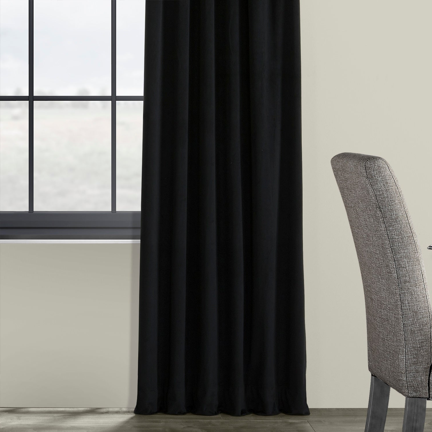 Exclusive Fabrics Signature Warm Black Velvet Single Blackout Curtain Panel Regarding Well Known Warm Black Velvet Single Blackout Curtain Panels (Gallery 6 of 20)