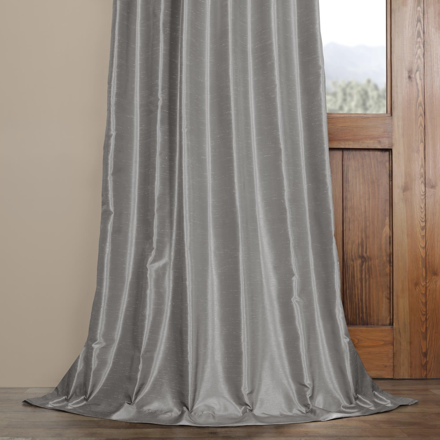Exclusive Fabrics Silver Vintage Faux Textured Dupioni Silk Curtain Panel With Regard To Fashionable Silver Vintage Faux Textured Silk Curtain Panels (View 3 of 20)