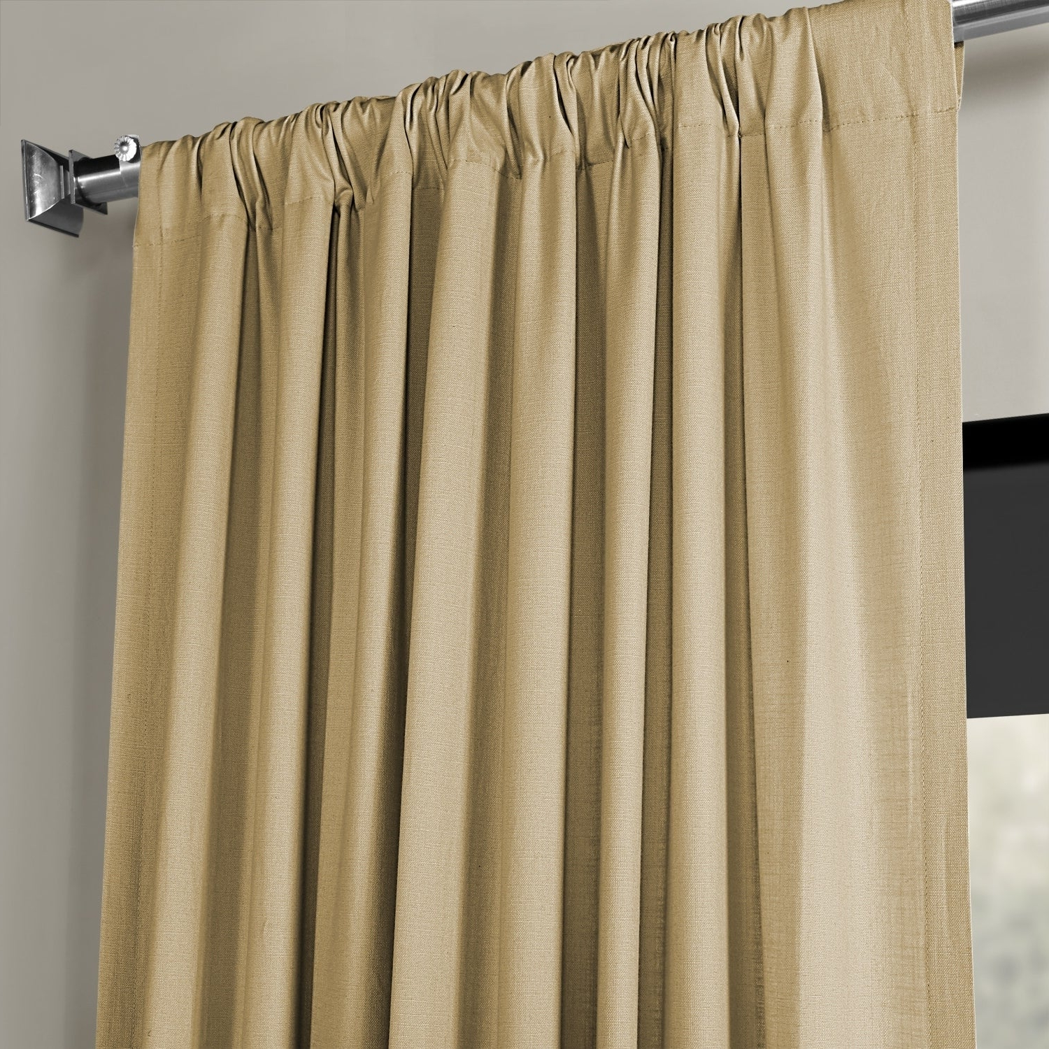 Exclusive Fabrics Solid Country Cotton Linen Weave Curtain Panel In Most Up To Date Solid Country Cotton Linen Weave Curtain Panels (Gallery 12 of 20)