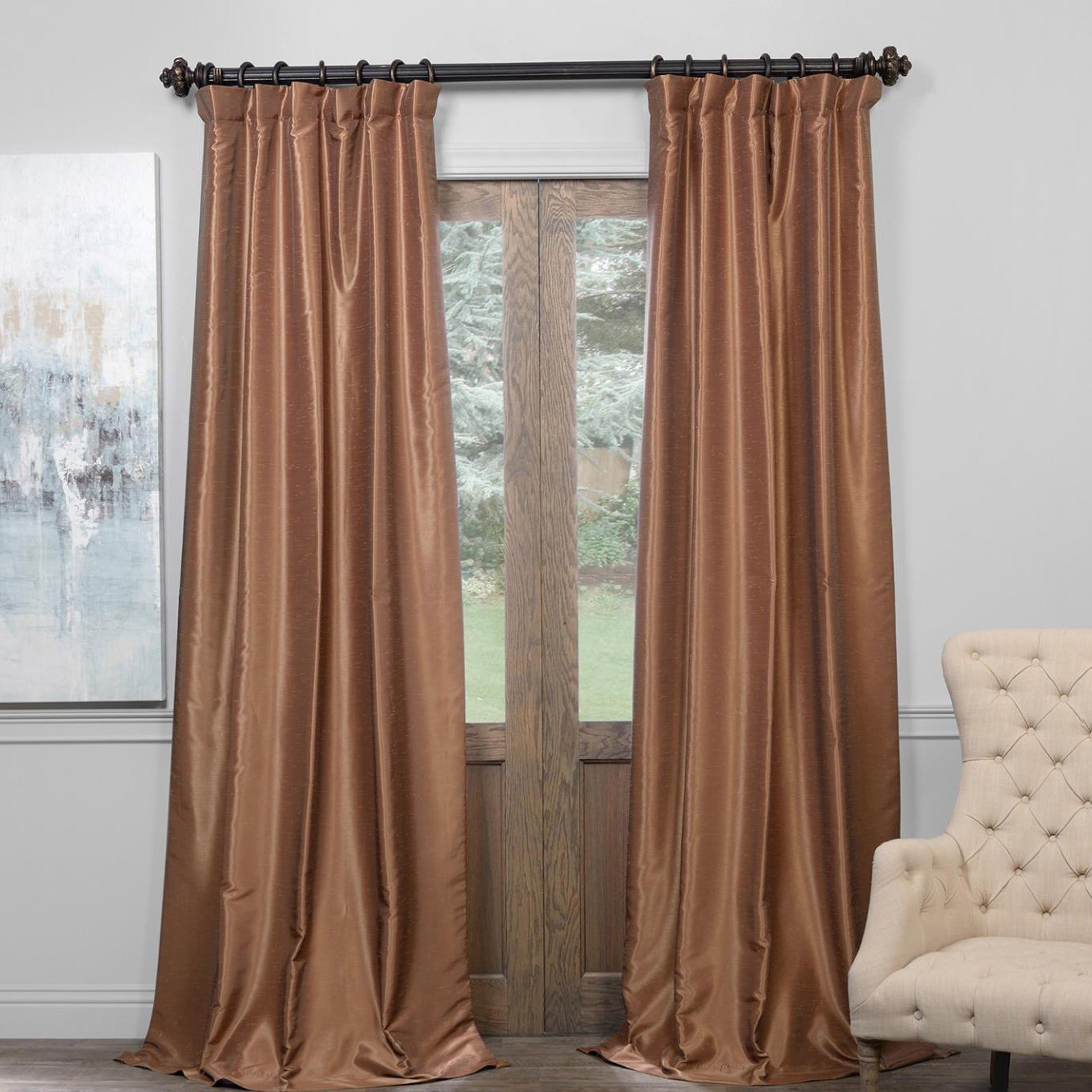 Exclusive Fabrics True Blackout Vintage Textured Faux Dupioni Silk Curtain Panel Pertaining To Most Popular True Blackout Vintage Textured Faux Silk Curtain Panels (View 5 of 20)
