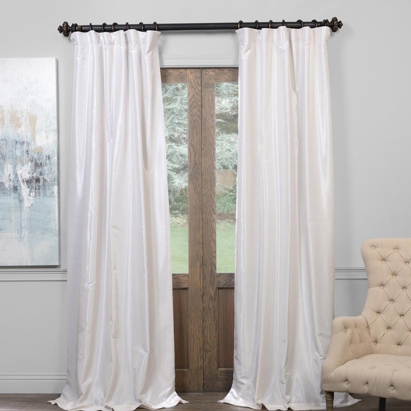 Exclusive Fabrics True Blackout Vintage Textured Faux In Widely Used Off White Vintage Faux Textured Silk Curtains (Gallery 9 of 20)