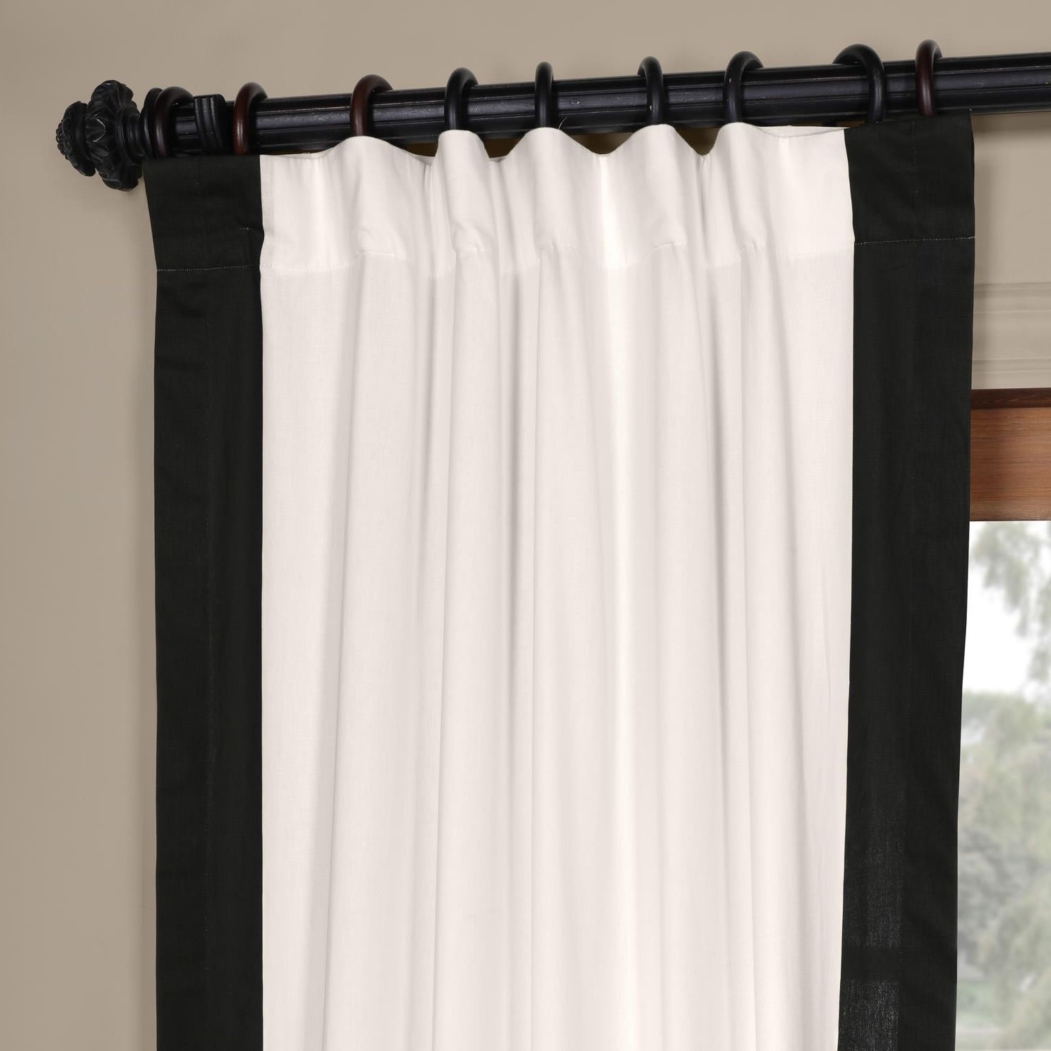 "Exclusive Fabrics Vertical Colorblock Panama Curtain 84"" In Fresh Popcorn  And Polo Navy (As Is Item) (Gallery 11 of 20)"