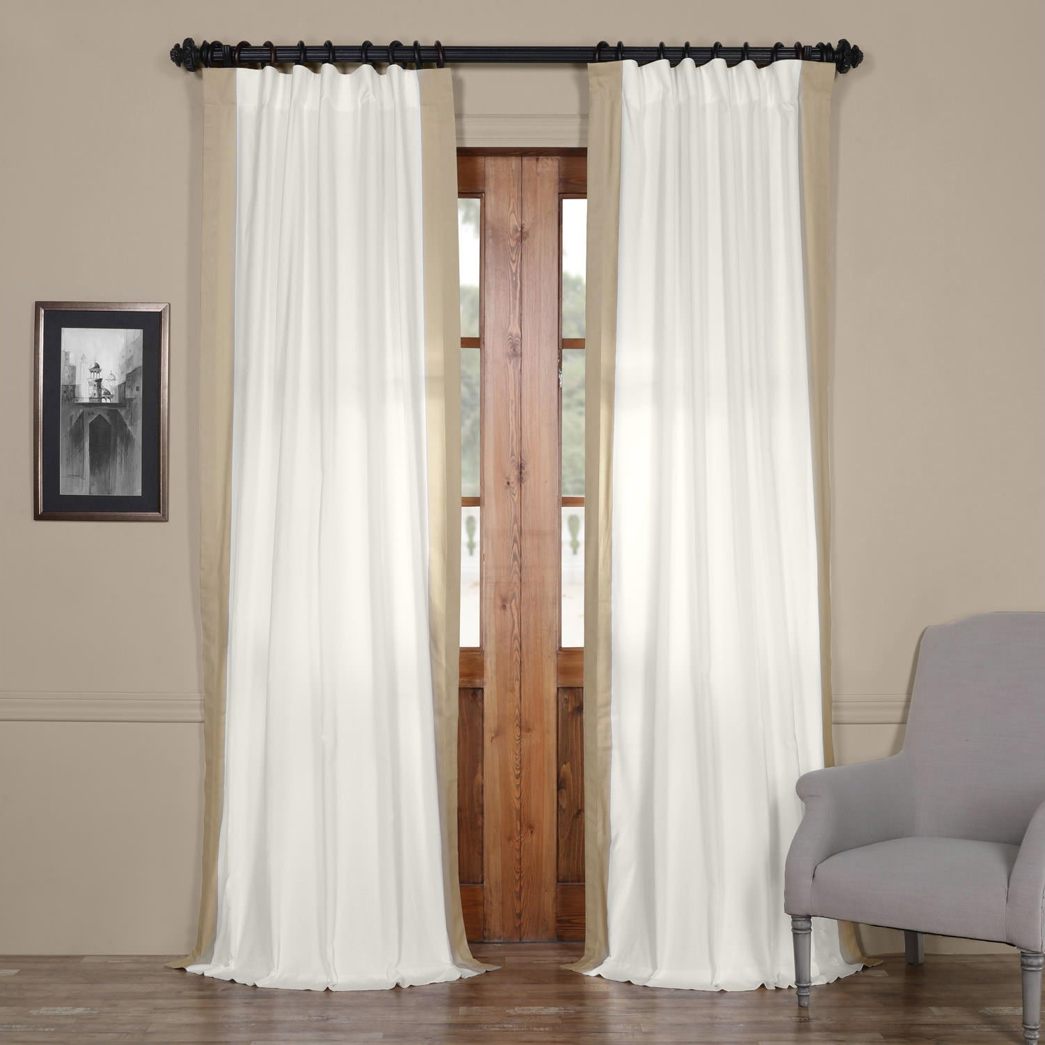 """Exclusive Fabrics Vertical Colorblock Panama Curtain 96"""" In Fresh Popcorn And Polo Navy (as Is Item) With 2021 Vertical Colorblock Panama Curtains (View 10 of 20)"""