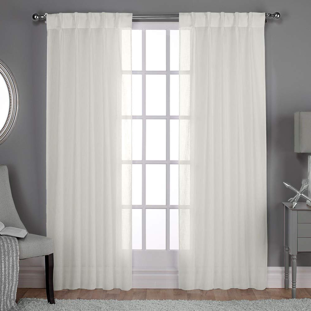 Exclusive Home Belgian Textured Sheer Pinch Pleat Curtain Panel Pair,  Snowflake In Most Recently Released Luxury Collection Monte Carlo Sheer Curtain Panel Pairs (Gallery 11 of 20)