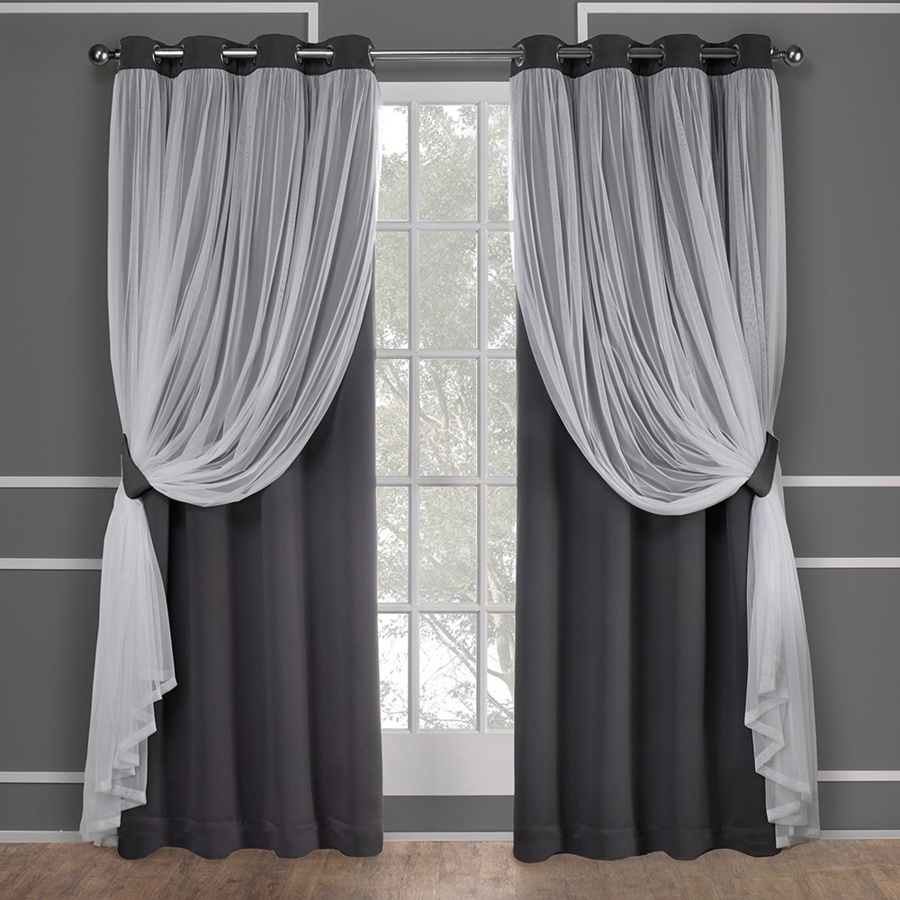 Exclusive Home Catarina Layered Solid Blackout And Sheer Intended For Famous Penny Sheer Grommet Top Curtain Panel Pairs (View 15 of 20)