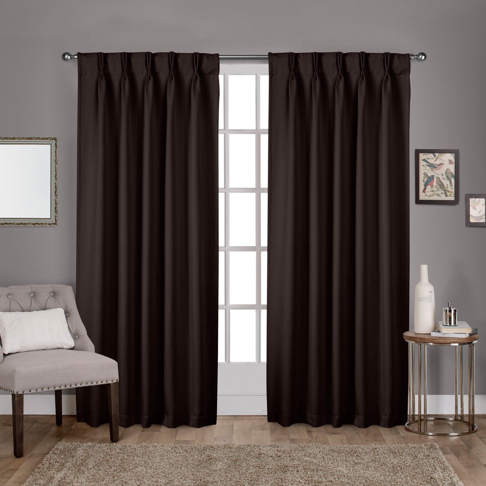 Exclusive Home Curtains 2 Pack Sateen Woven Blackout Pinch Pleat Curtain  Panels With Most Current Double Pinch Pleat Top Curtain Panel Pairs (Gallery 16 of 20)