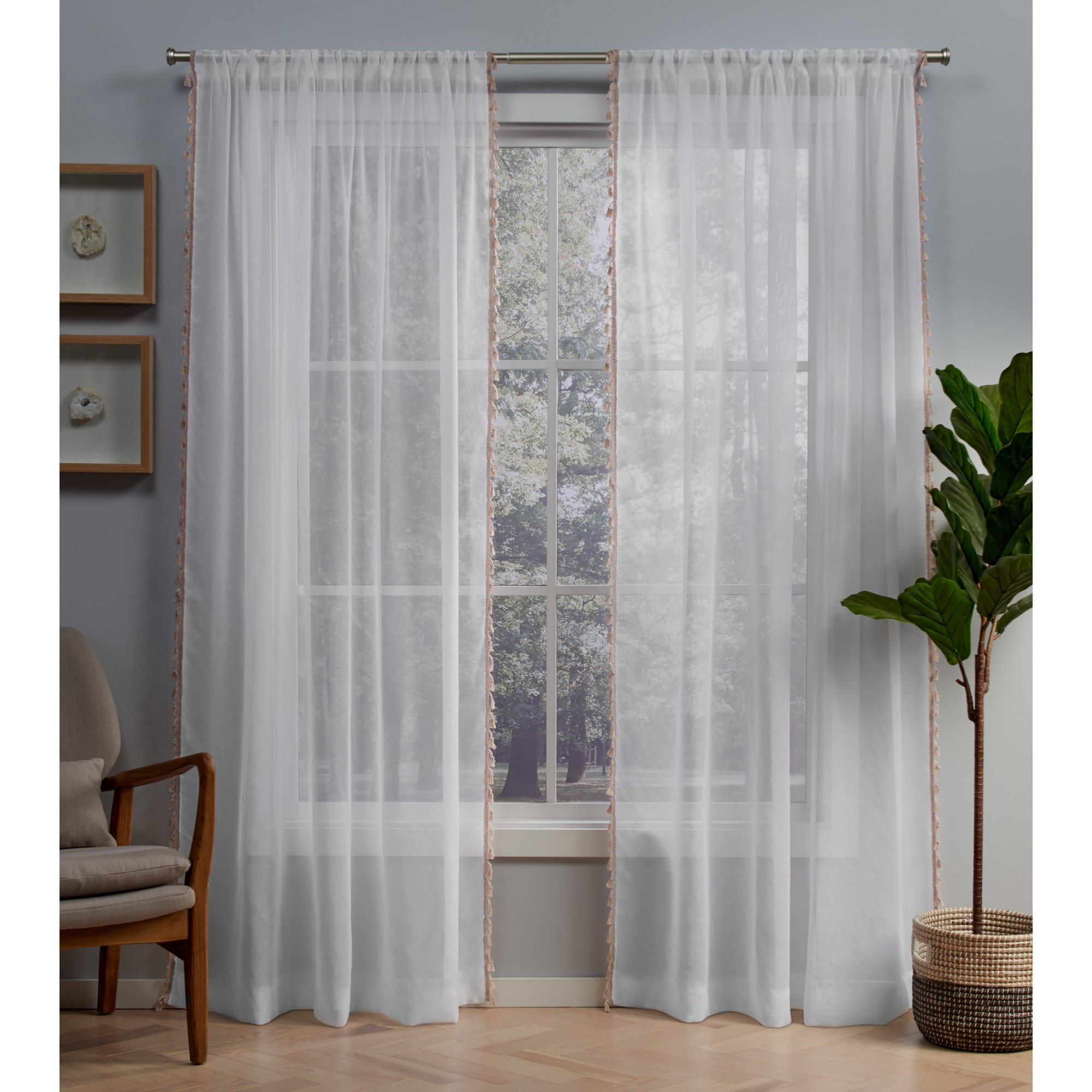 Exclusive Home Curtains 2 Pack Tassels Sheer Rod Pocket Curtain Panels –  Walmart Within Fashionable Tassels Applique Sheer Rod Pocket Top Curtain Panel Pairs (Gallery 12 of 20)