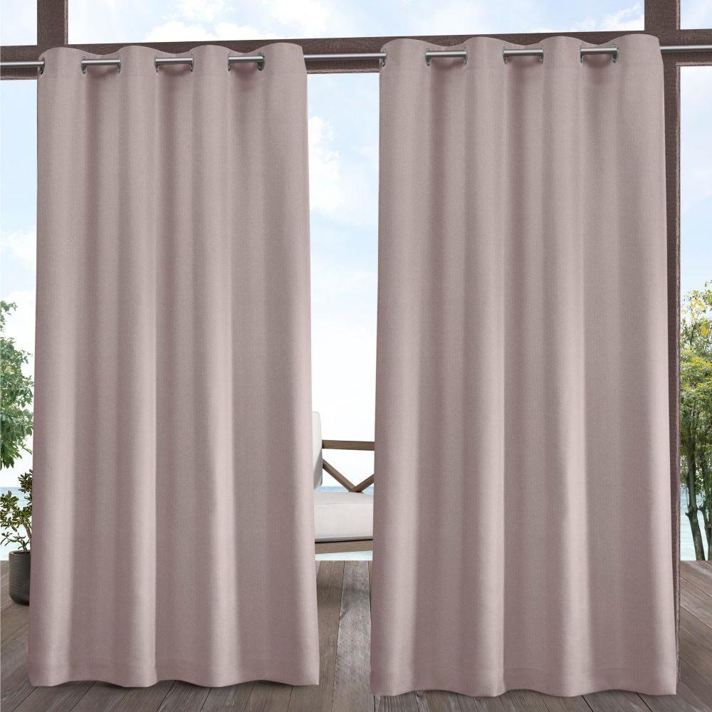 Exclusive Home Curtains Biscayne 54 In. W X 84 In. L Indoor Outdoor Grommet  Top Curtain Panel In Blush (2 Panels) Regarding Favorite Delano Indoor/outdoor Grommet Top Curtain Panel Pairs (Gallery 7 of 20)