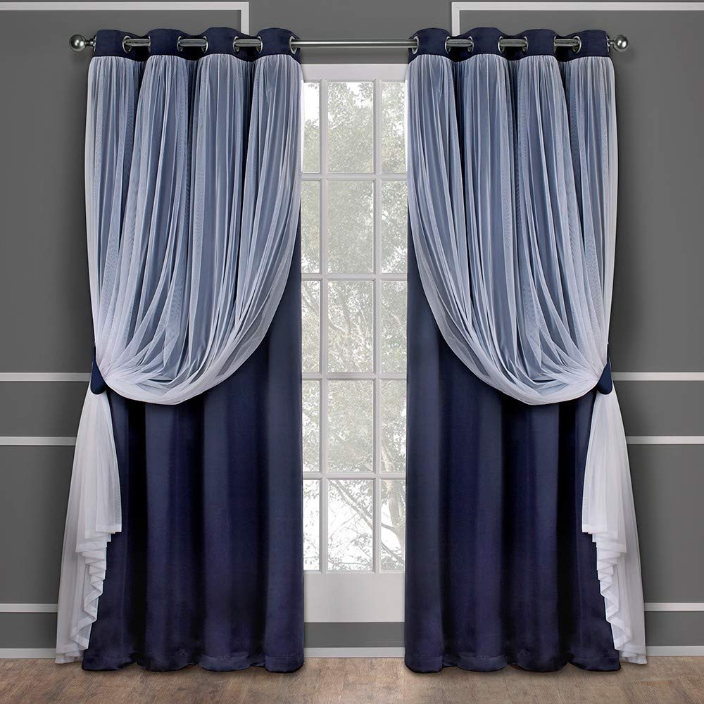 Exclusive Home Curtains Catarina Layered Solid Blackout And Sheer Window Curtain Panel Pair With Grommet Top, 52x96, Navy, 2 Piece Inside Well Known Catarina Layered Curtain Panel Pairs With Grommet Top (View 5 of 20)