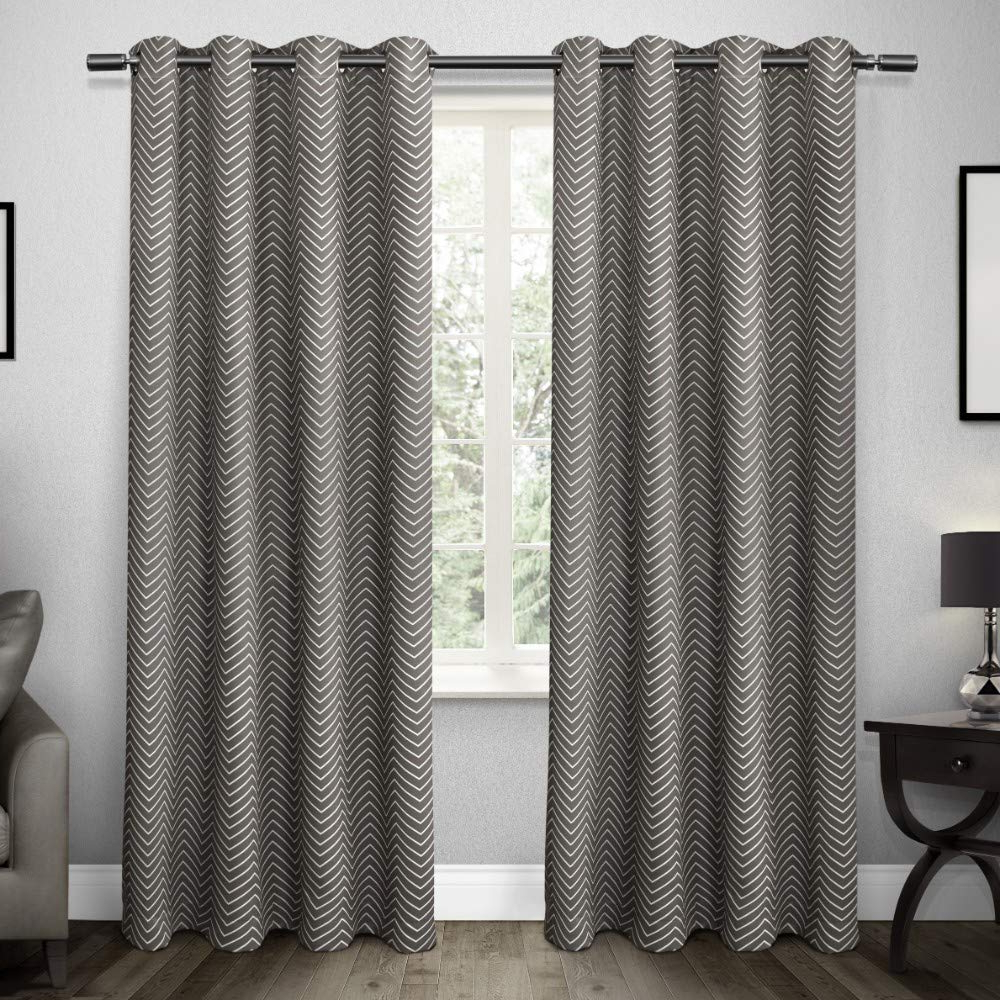 Exclusive Home Curtains Chevron Thermal Blackout Grommet Top Window Curtain Panel Pair, Black Pearl, 52x96 With Recent Easton Thermal Woven Blackout Grommet Top Curtain Panel Pairs (View 5 of 20)