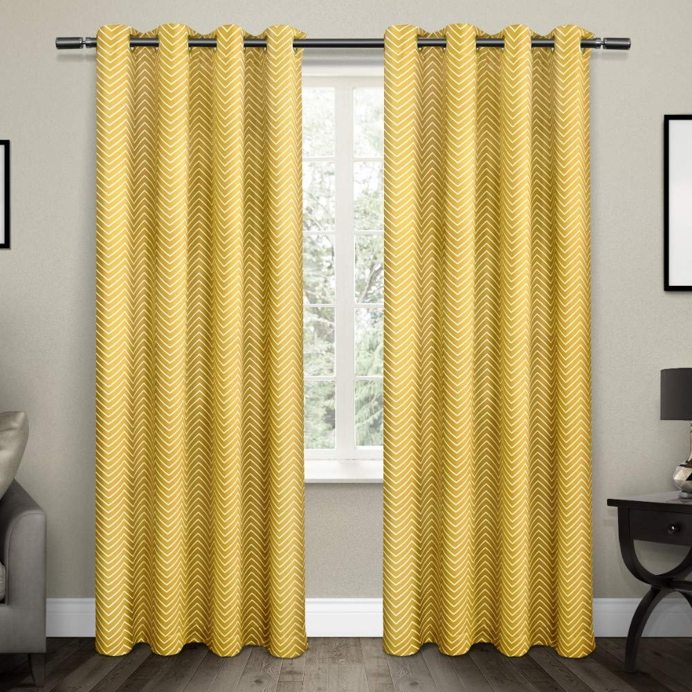 Exclusive Home Curtains Chevron Thermal Blackout Grommet Top Window Curtain Panel Pair, Sundress, 52x96 For Favorite Easton Thermal Woven Blackout Grommet Top Curtain Panel Pairs (View 20 of 20)