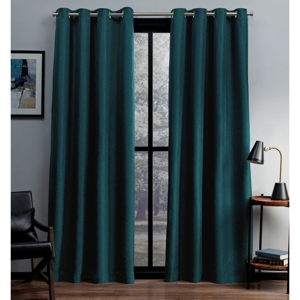 Exclusive Home Curtains Eglinton Woven Blackout Window Curtain Panel Pair  With Grommet Top, 52X84, Teal, 2 Piece For Trendy Woven Blackout Grommet Top Curtain Panel Pairs (Gallery 13 of 20)