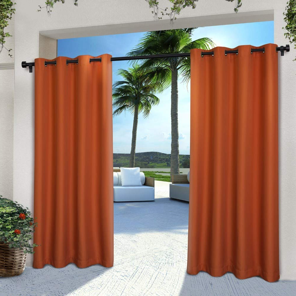 Exclusive Home Curtains Indoor/outdoor Solid Cabana Window Curtain Panel  Pair With Grommet Top, 54X84, Mecca Orange, 2 Piece Within Well Liked Indoor/outdoor Solid Cabana Grommet Top Curtain Panel Pairs (Gallery 8 of 20)