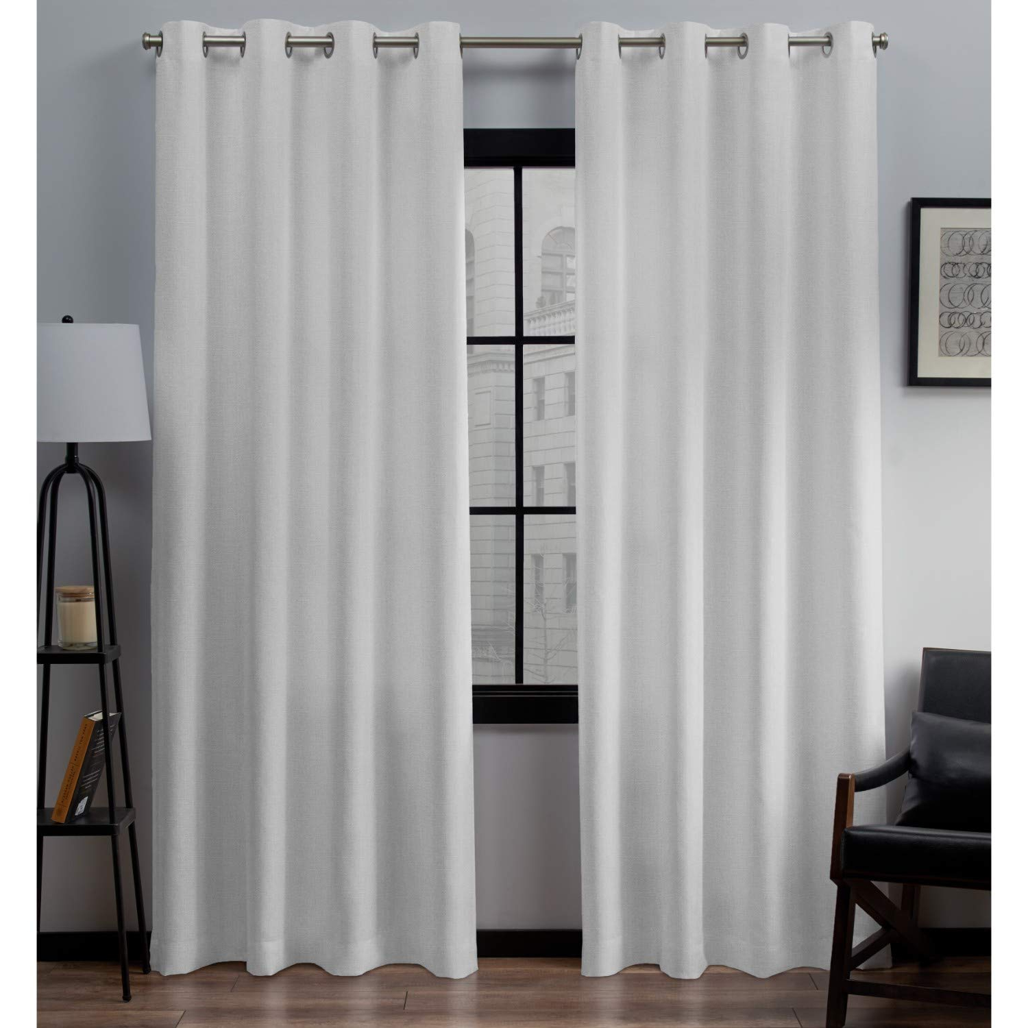 "Exclusive Home Curtains Loha Linen Window Curtain Panel Pair, 54"" X 108"", Winter White With Most Recently Released Solid Grommet Top Curtain Panel Pairs (View 6 of 20)"
