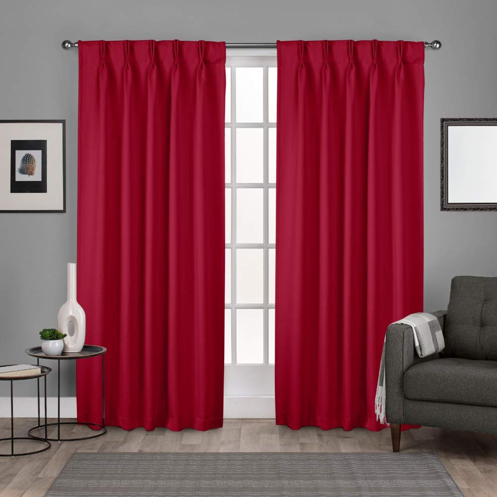 "Exclusive Home Curtains Sateen Woven Blackout Window Curtain Panel Pair  With Pinch Pleat Top, 96"" Length, Chili, 2 Piece For Well Liked Sateen Woven Blackout Curtain Panel Pairs With Pinch Pleat Top (View 7 of 20)"