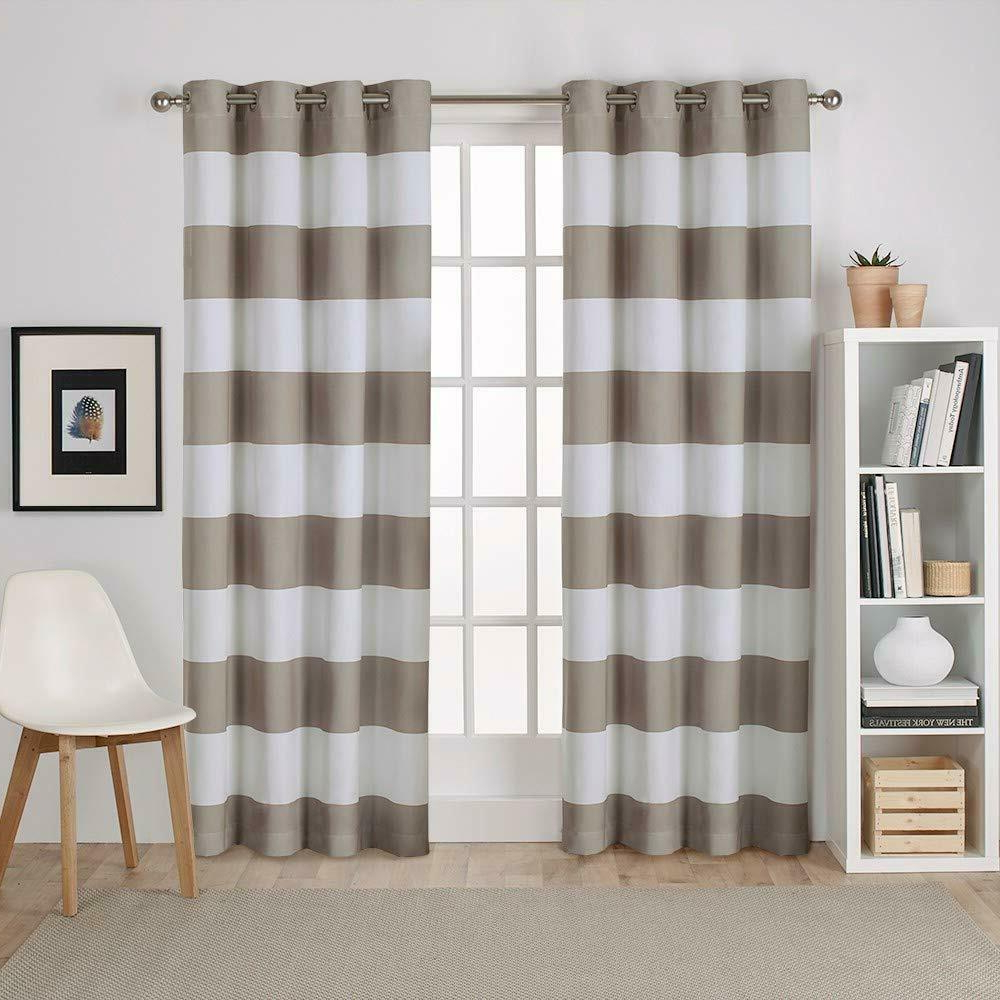 Exclusive Home Curtains Surfside Cabana Stripe Cotton Window Curtain Panel  Pair Pertaining To Favorite Tassels Applique Sheer Rod Pocket Top Curtain Panel Pairs (View 5 of 20)
