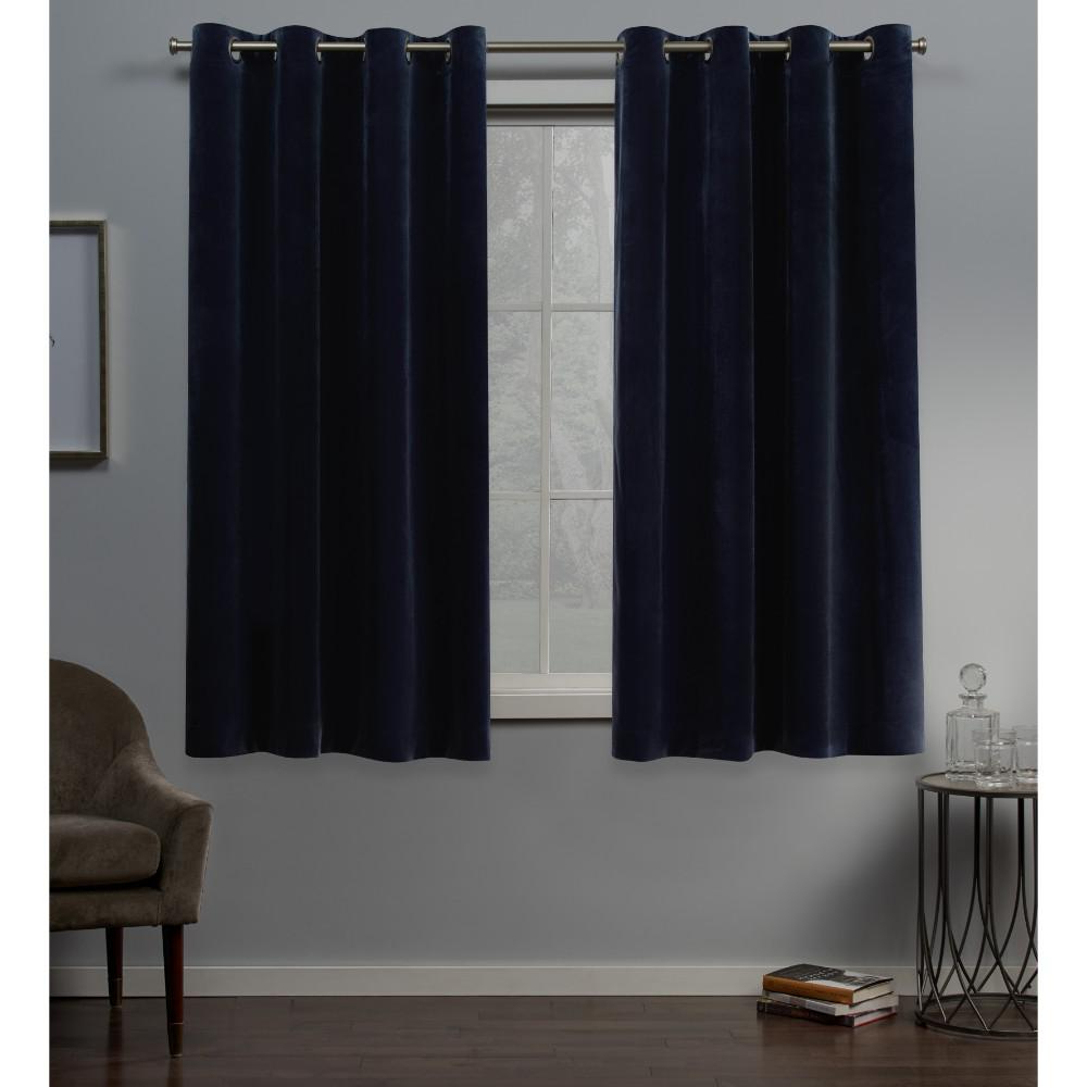 Exclusive Home Curtains Velvet 54 In. W X 63 In. L Velvet Grommet Top  Curtain Panel In Navy (2 Panels) Inside Widely Used Velvet Heavyweight Grommet Top Curtain Panel Pairs (Gallery 8 of 20)