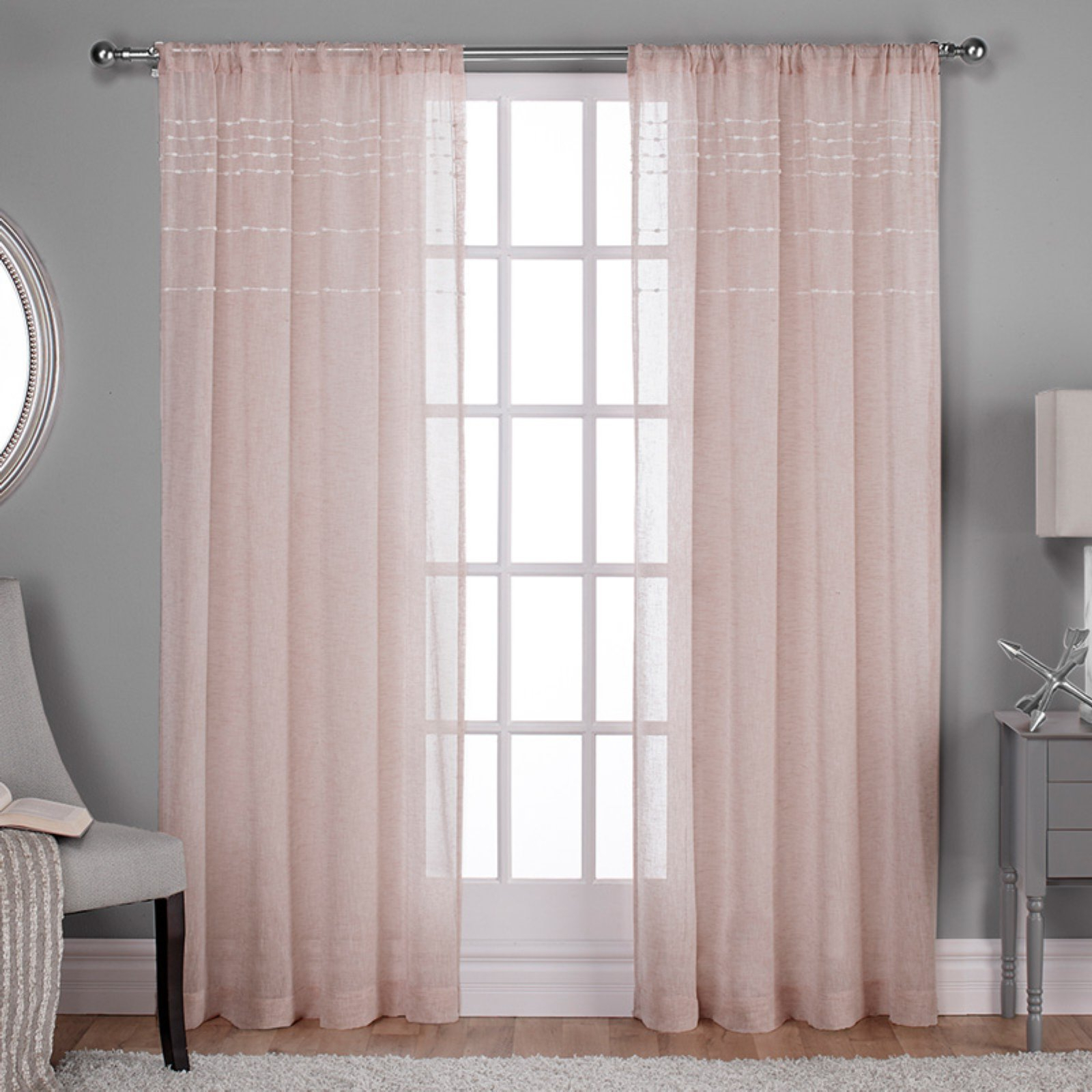 Exclusive Home Davos Puff Embellished Belgian Sheer Window Throughout Trendy Belgian Sheer Window Curtain Panel Pairs With Rod Pocket (View 18 of 20)