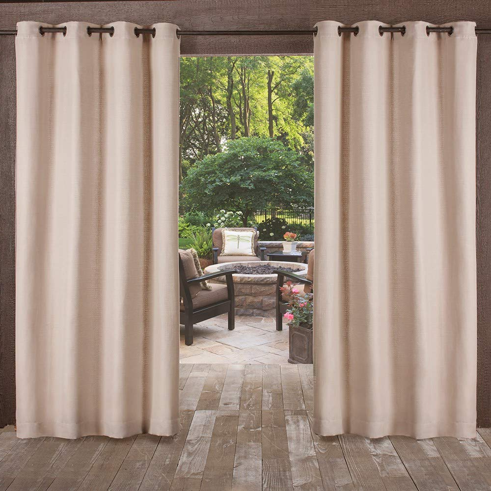 Exclusive Home Delano Heavyweight Textured Indoor/outdoor Grommet Top Curtain Panel Pair, Taupe, 54X96 With 2021 Indoor/outdoor Solid Cabana Grommet Top Curtain Panel Pairs (View 18 of 20)
