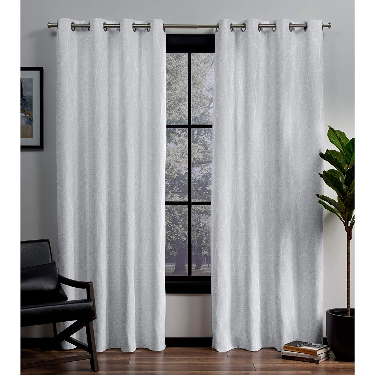 Exclusive Home Forest Hill Woven Blackout Grommet Top Curtain Panel Pair,  Winter, 52X84 With Regard To Most Popular Forest Hill Woven Blackout Grommet Top Curtain Panel Pairs (View 4 of 20)