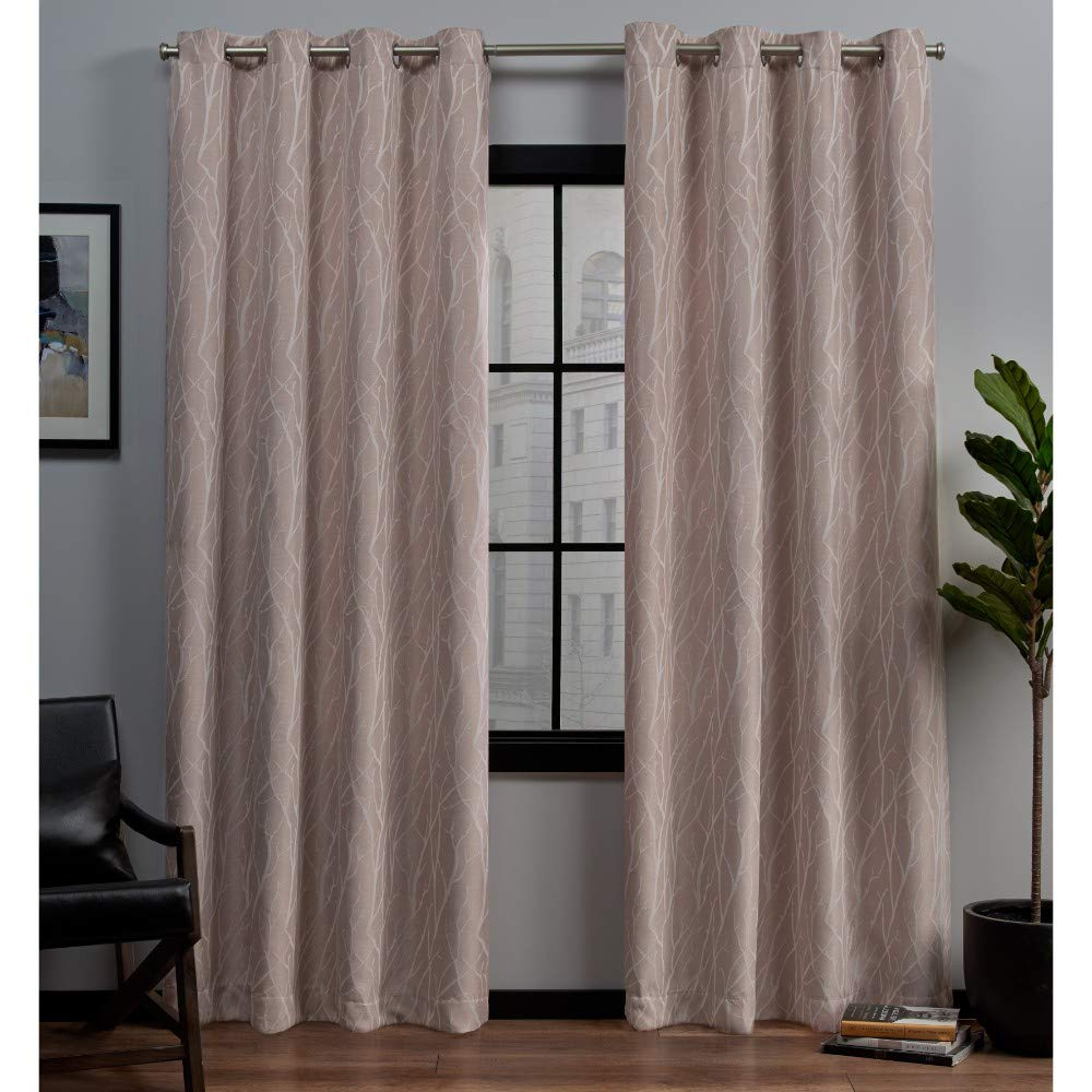Exclusive Home Forest Hill Woven Blackout Grommet Top Window Curtain Panel  Pair, Rose Blush, 52X96 Pertaining To Fashionable Woven Blackout Grommet Top Curtain Panel Pairs (Gallery 18 of 20)