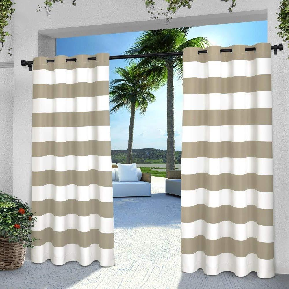 Exclusive Home Indoor/outdoor Stripe Cabana Grommet Top Curtain Panel Pair, Taupe, 54x96 Inside Widely Used Ocean Striped Window Curtain Panel Pairs With Grommet Top (View 14 of 20)