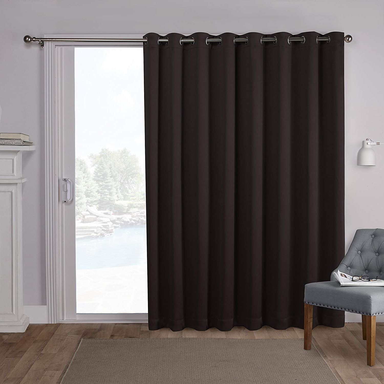 Exclusive Home Sateen Patio Woven Blackout Grommet Top Single Curtain Panel, Espresso, 100X84 For Well Liked Patio Grommet Top Single Curtain Panels (Gallery 4 of 20)
