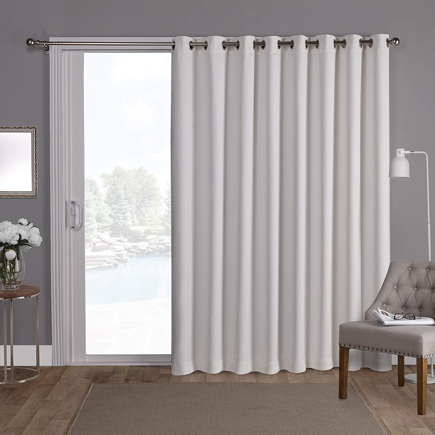 Exclusive Home Sateen Patio Woven Blackout Grommet Top Single Curtain  Panel, Vanilla, 100X84 In Trendy Oxford Sateen Woven Blackout Grommet Top Curtain Panel Pairs (Gallery 18 of 20)