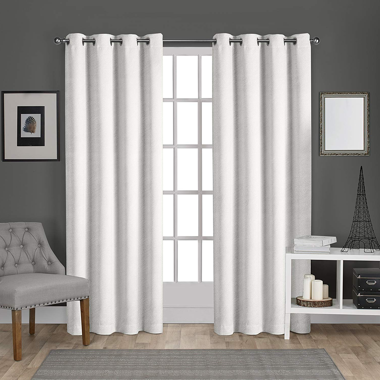Exclusive Home Velvet Heavyweight Grommet Top Curtain Panel Pair, Winter White, 54x96 For Recent Velvet Heavyweight Grommet Top Curtain Panel Pairs (View 4 of 20)