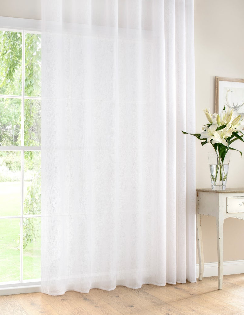Extra Wide White Voile Sheer Curtain Panels Pertaining To Famous Extra Wide White Linen Rich Semi Sheer Voile Curtain Panel Ready Made & Custom Sizes Available (View 16 of 20)