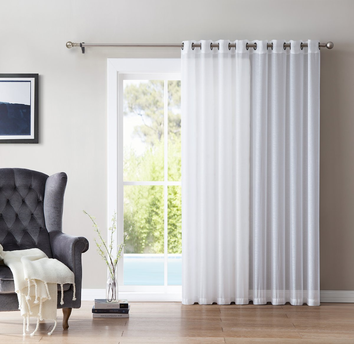 "Extra Wide White Voile Sheer Curtain Panels Pertaining To Most Recently Released Hlc One Panel Extra Wide Sheer Voile Patio Door Grommet Curtain Panel For Sliding Doors (white) – 100"" X 84"" Inch (View 9 of 20)"