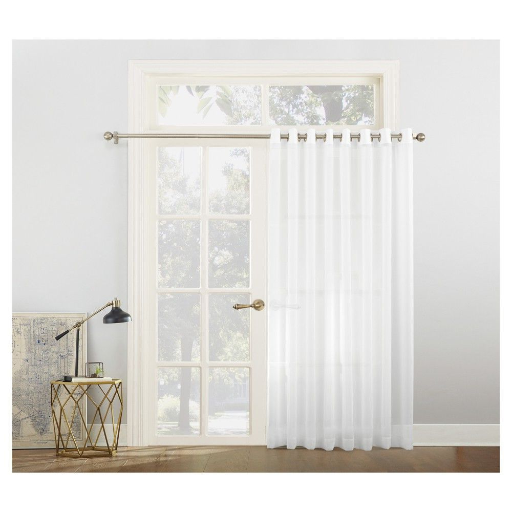 Extra Wide White Voile Sheer Curtain Panels Pertaining To Recent Emily Sheer Voile Sliding Door Patio Curtain Panel White (View 7 of 20)