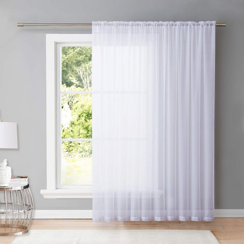 "Extra Wide White Voile Sheer Curtain Panels Pertaining To Trendy Nicetown White 84 Inch Long, Extra Wide Sheer Voile Window Curtains Panels For Children Room & Door Decor (100"" Wide, White, 1 Panel) (View 8 of 20)"