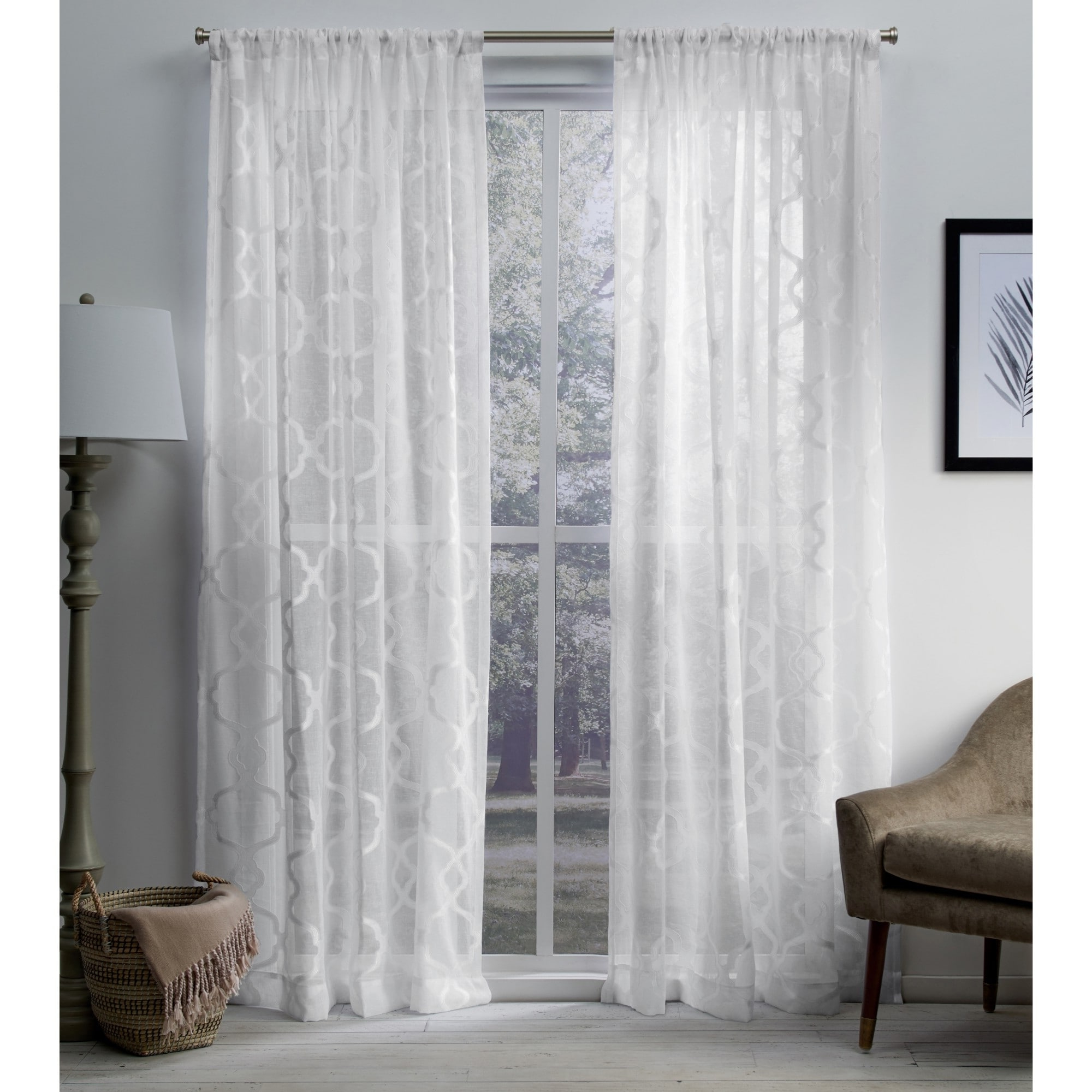 Famous Ati Home Jacquard Sheer Rod Pocket Top Curtain Panel Pair In Luxury Collection Venetian Sheer Curtain Panel Pairs (View 8 of 20)