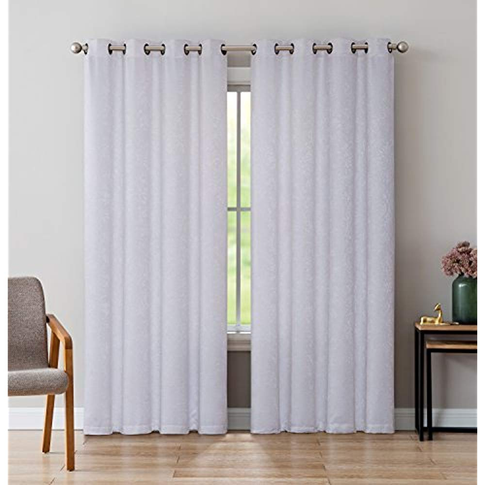 Famous Embossed Thermal Weaved Blackout Grommet Drapery Curtains Regarding Details About Linenzone Evelyn – Room Darkening Embossed Thermal Weaved  Curtain Panel Noise 8 (Gallery 8 of 20)