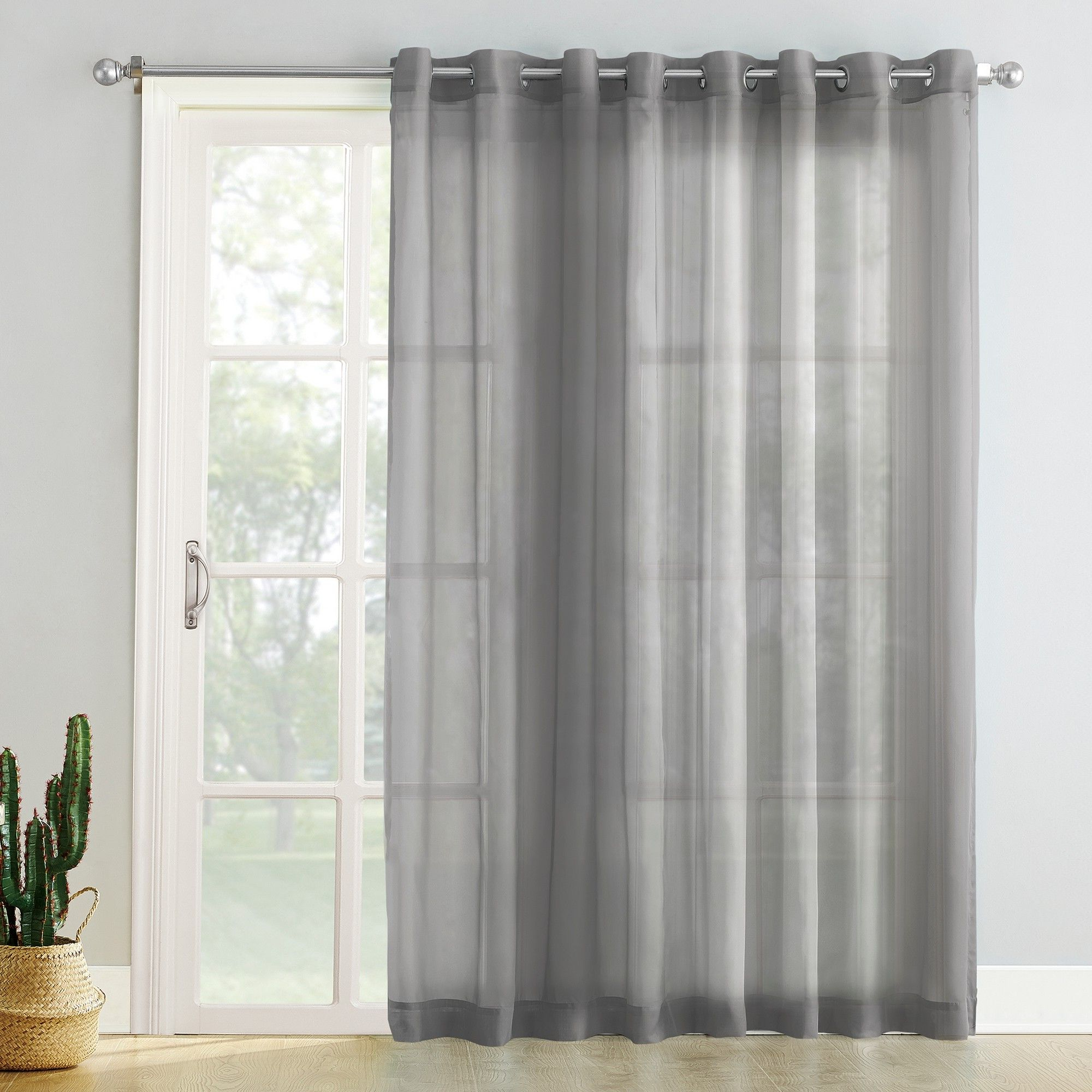Famous Emily Sheer Voile Grommet Curtain Panels Within Emily Extra Wide Sheer Voile Sliding Door Patio Curtain (View 6 of 20)