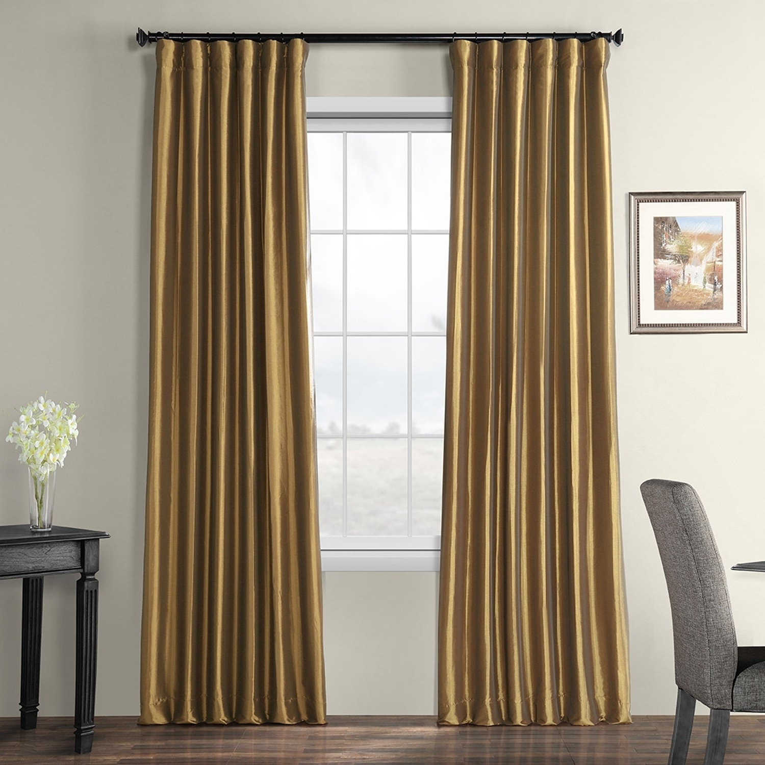 Famous Exclusive Fabrics Faux Silk Taffeta 96 Inch Blackout Curtain Panel Inside Faux Silk Taffeta Solid Blackout Single Curtain Panels (Gallery 3 of 20)