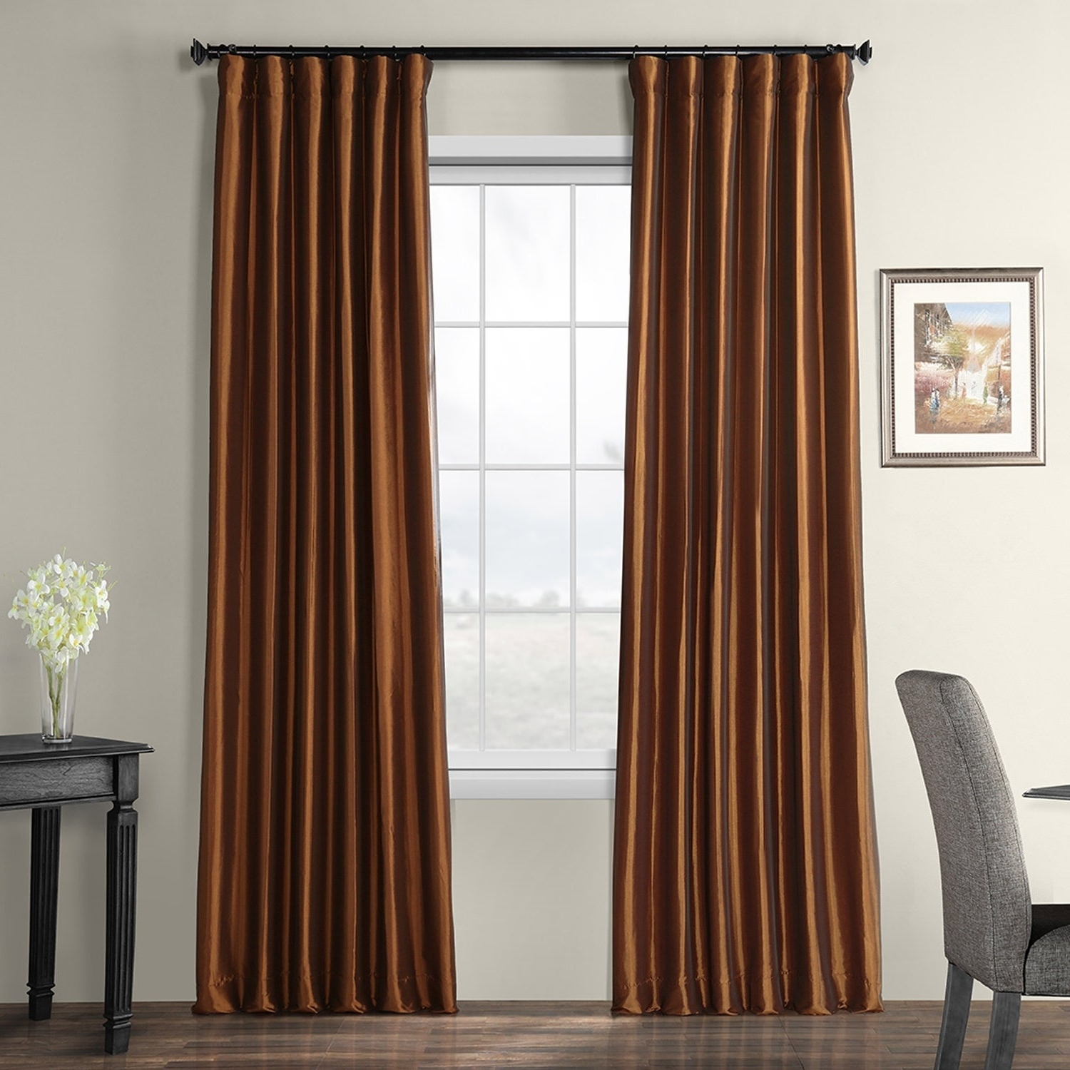 Famous Exclusive Fabrics Faux Silk Taffeta 96 Inch Blackout Curtain Panel Regarding True Blackout Vintage Textured Faux Silk Curtain Panels (Gallery 18 of 20)