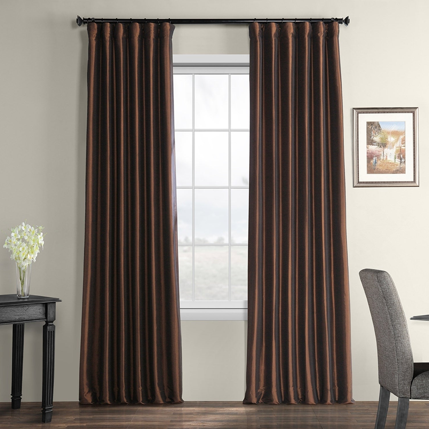 Featured Photo of Faux Silk Taffeta Solid Blackout Single Curtain Panels