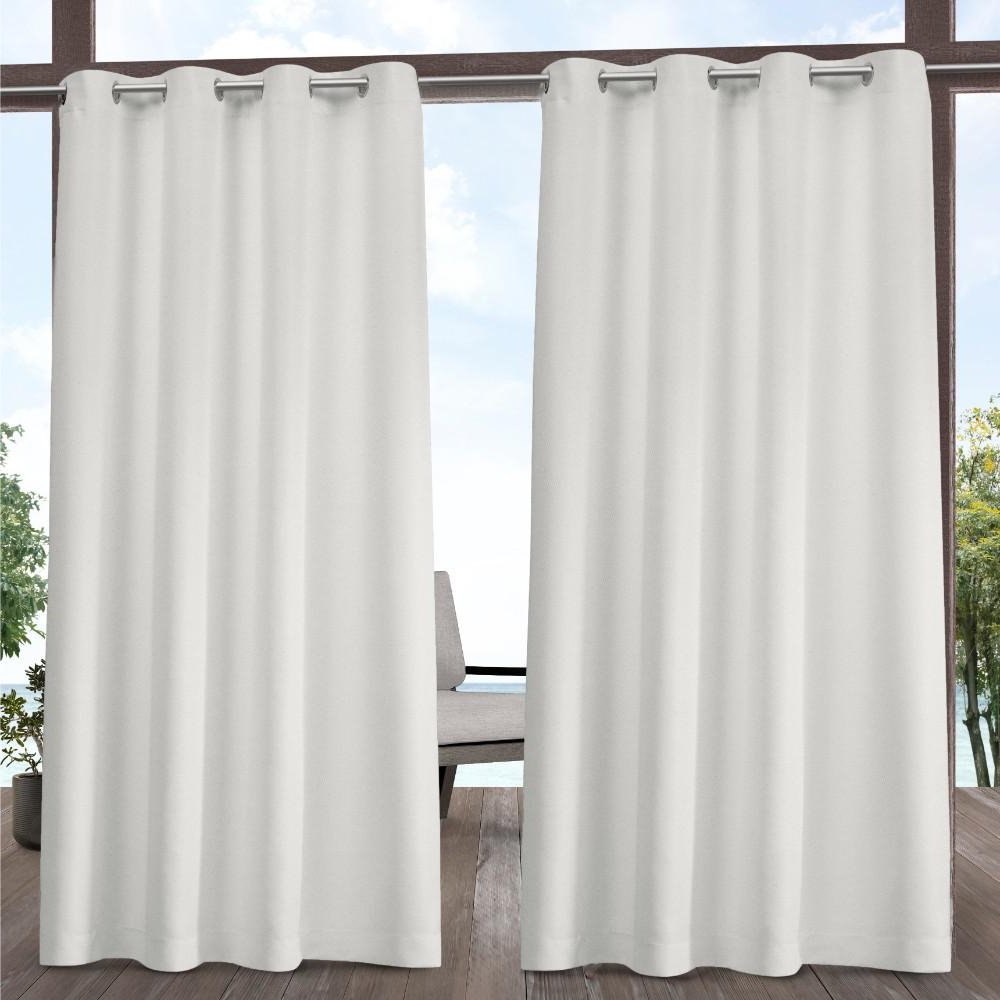 Famous Exclusive Home Curtains Indoor Outdoor Solid 54 In. W X 108 In. L Grommet  Top Curtain Panel In Vanilla (2 Panels) For Solid Grommet Top Curtain Panel Pairs (Gallery 18 of 20)