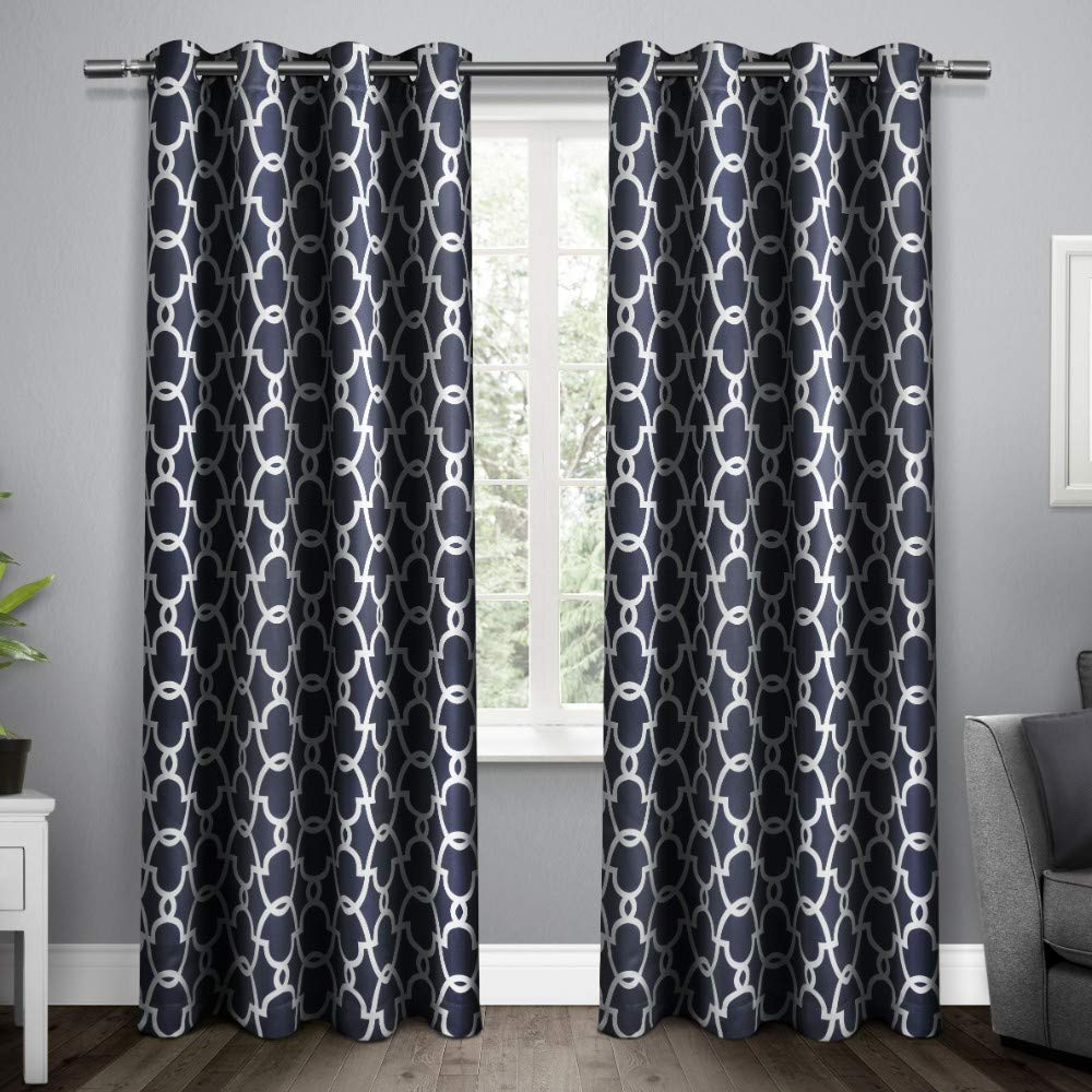 Famous Exclusive Home Gates Sateen Woven Blackout Grommet Top Curtain Panel Pair,  Peacoat Blue, 52X96 Within Thermal Woven Blackout Grommet Top Curtain Panel Pairs (Gallery 18 of 20)