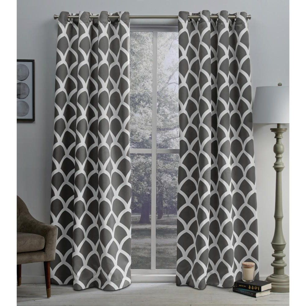 Famous Geometric Print Textured Thermal Insulated Grommet Curtain Panels Pertaining To Durango Black Pearl Geometric Printed Woven Sateen Grommet Top Window Curtain (View 15 of 20)