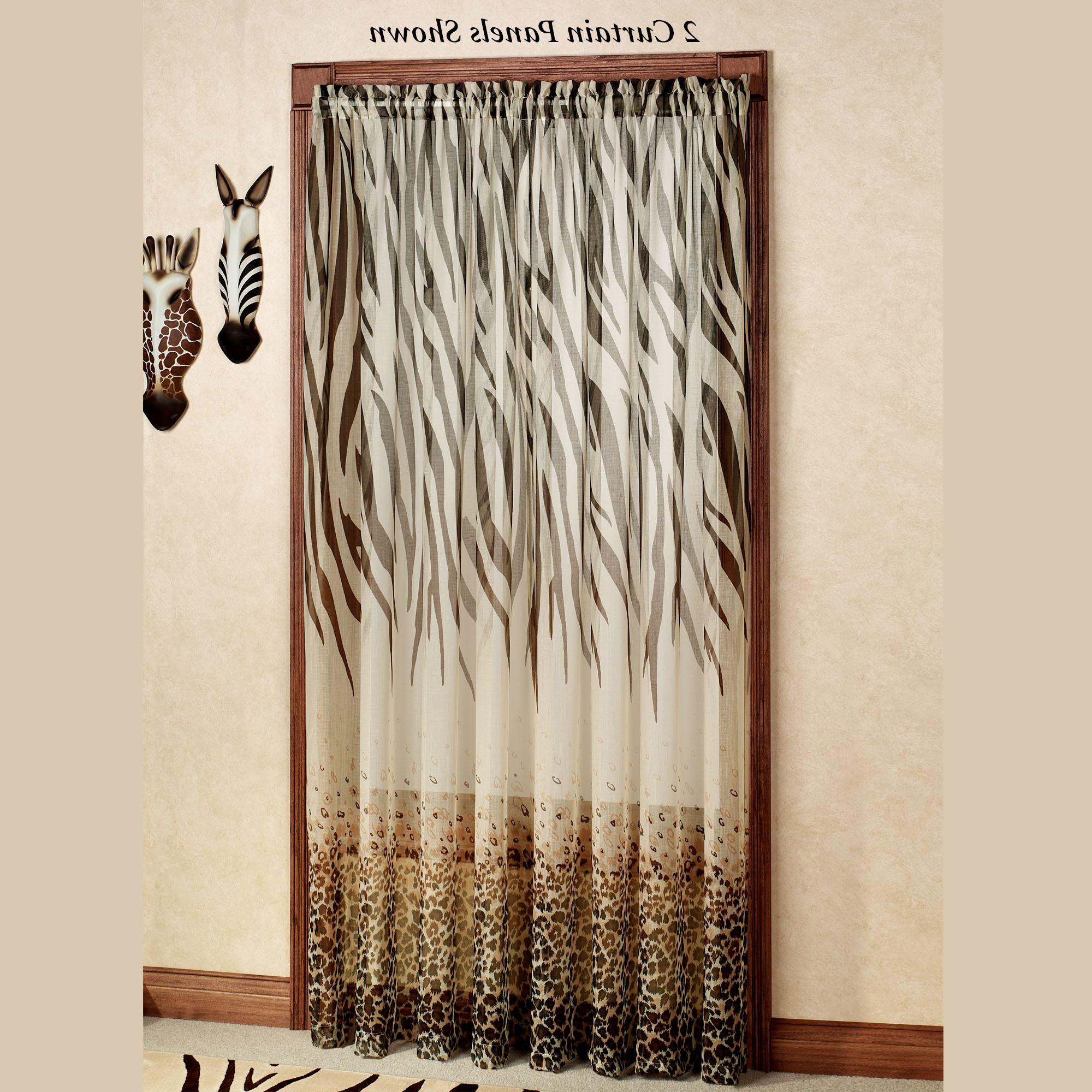 Famous Kenya Safari Brown Animal Print Semi Sheer Curtain Panels With Grey Printed Curtain Panels (View 13 of 20)