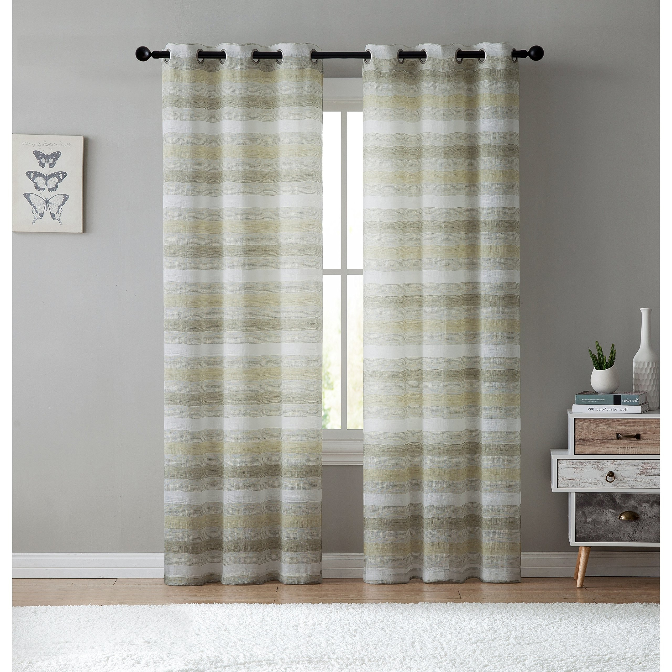 "Famous Keyes Blackout Single Curtain Panels In Details About Vcny Home Stripe Sheer South Hampton Grommet Curtain Panels  Sage 38""x84"" (Gallery 12 of 20)"