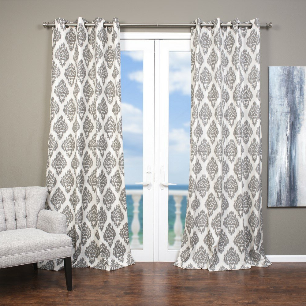 Famous Lambrequin Baroque Ikat; Damask Semi Sheer Grommet Single Throughout Baroque Linen Grommet Top Curtain Panel Pairs (Gallery 18 of 20)