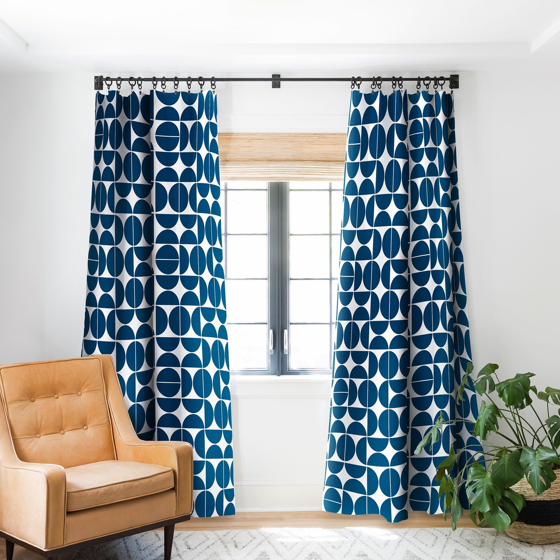 Famous Mid Century Modern 04 Blue Blackout Window Curtain The Old With Regard To Mid Century Geo Room Darkening Window Curtain Panel Pairs (Gallery 7 of 22)