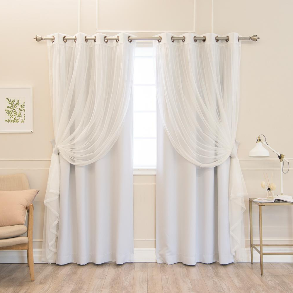 Famous Mix And Match Blackout Blackout Curtains Panel Sets Inside Best Home Fashion 84 In. L Umixm Vapor Tulle And Blackout Curtain Panel  (4 Pack) (Gallery 8 of 20)